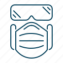 face mask and goggles, mask and glasses, mask and goggles, ppe, protective gear icon