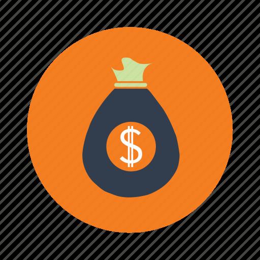 bag, currency, dollar bag, money icon