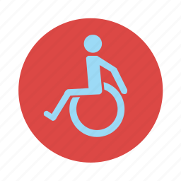 differently abled, disabled, physically challenged, wheelchair icon