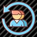 influencer, on, return icon