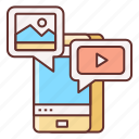 content, messaging, social media, user generated content icon
