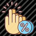 click, rate, through icon