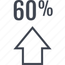 arrow, data, graphics, info, percent, sixty icon