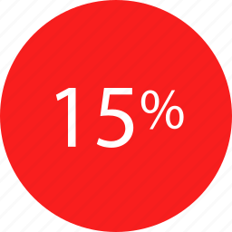 fifteen, percent, rate icon