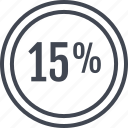 data, fifteen, information, percent icon