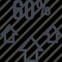 arrows, percent, sixty, three, up icon