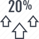 arrows, percent, three, twenty icon