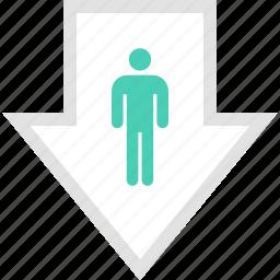 arrow, down, pointer, profile, user icon