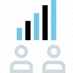 bars, data, up, users icon