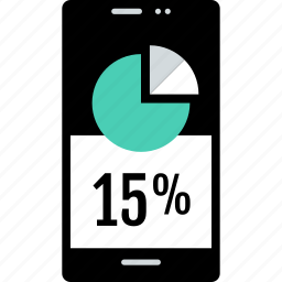 cell, guardar, interest, percent, phone, save, savings icon