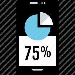 cell, percent, phone, seventyfive icon