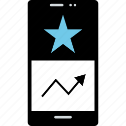 analytics, cell, data, phone, up icon