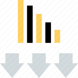 arrows, bars, data, down icon