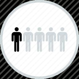 business, comparison, five, men, users icon