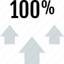 arrows, data, full, percent, three, up icon