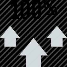 arrows, data, full, percent, three, up icon