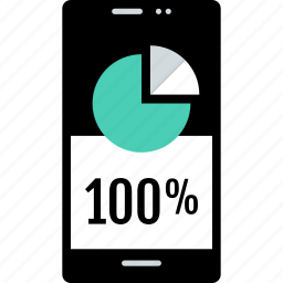 cell, chart, onehundred, percent, phone, pie icon