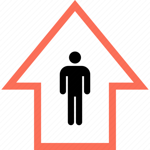 arrow, data, profile, up, user icon