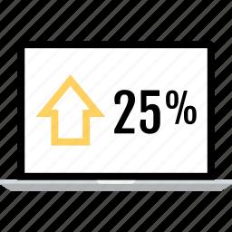 arrow, laptop, online, percent, quarter, up icon
