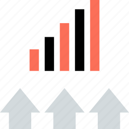 arrows, bars, data, three, up icon