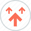 arrows, point, pointing, three, up icon