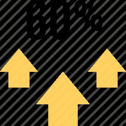 arrows, interest, percent, sixty, three, up icon