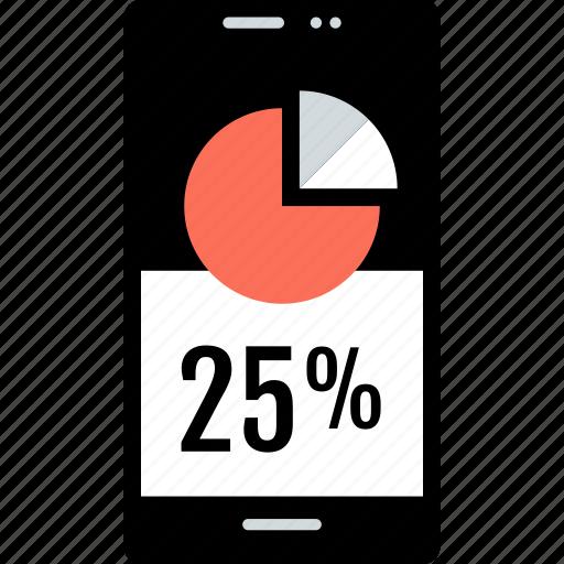 cell, chart, percent, phone, pie, twentyfive icon