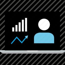 data, graphic, laptop, profile, user icon
