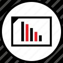 bars, data, down, infographic, seo, web icon