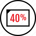 data, fourty, infographic, percent, rate, seo, web icon