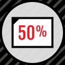 data, half, infographic, percent, rate, seo, web icon