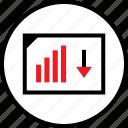 arrow, data, down, infographic, seo, web icon