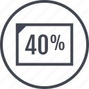 fourty, page, percent, percentage, rate icon
