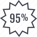 ninetyfive, percent, price, rate, tag icon
