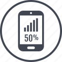 fifty, percent, phone, rate icon