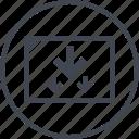 arrows, down, point, pointer, three icon