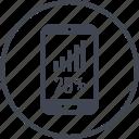 five, percent, phone, rate, twenty icon