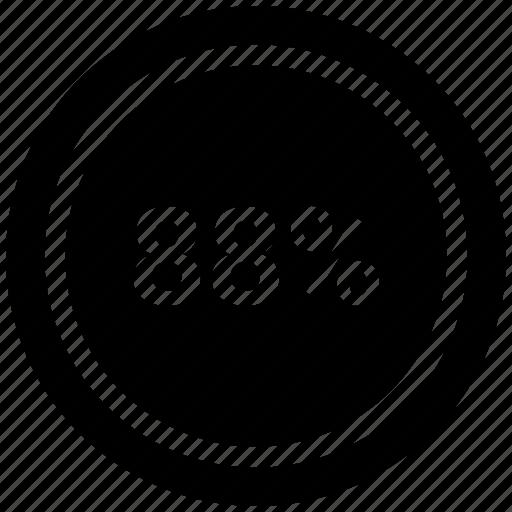 chart, eight eight, percentage, pie icon