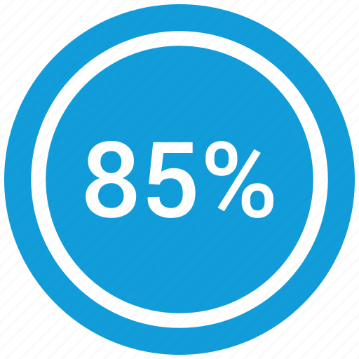 count, eighty five, graphic, info, number, percent icon