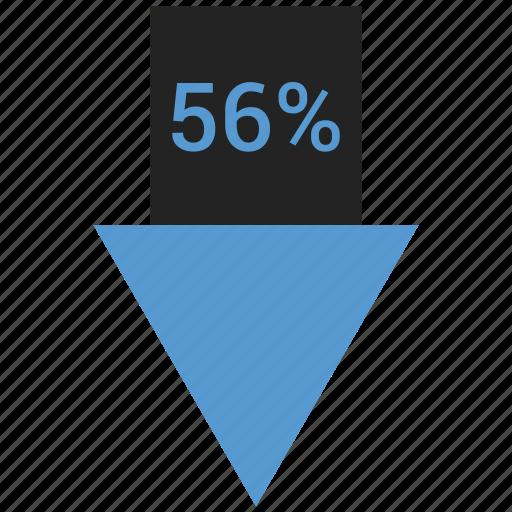 arrow, down, fifty, percent, six icon