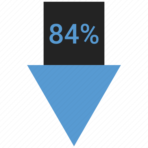 arrow, down, eighty, four, percent icon