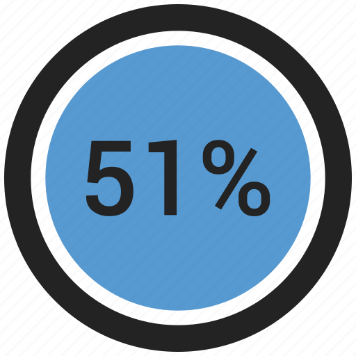 chart, count, fifty one, graphic, ninty, number, percent icon