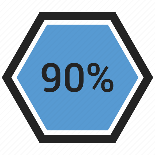 count, graphic, info, ninty, number, percent icon