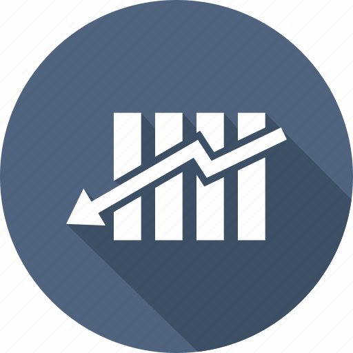 analytics, chart, down bar, down growth, growth, increase icon