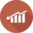 analytics, down growth, finance, graph, statistics icon