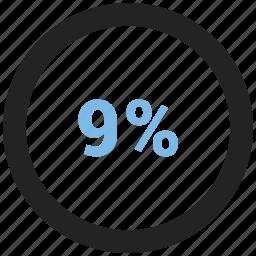 info, information, nine, percent icon