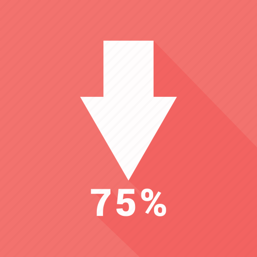 arrow, percentage, reduction, seventy five, up icon