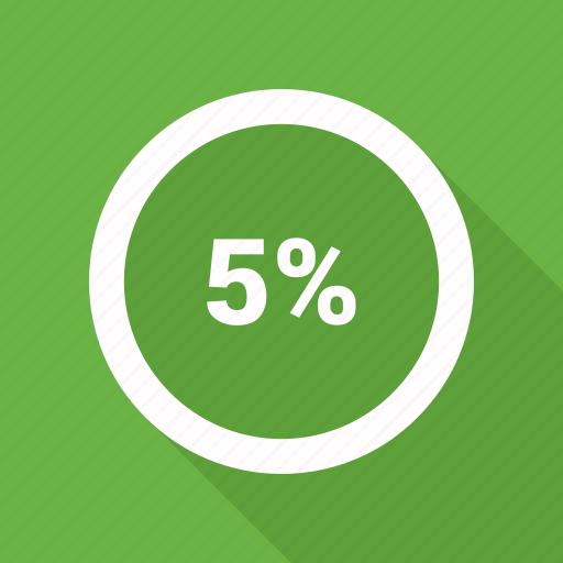circle, five, percent, percentage, pie chart icon