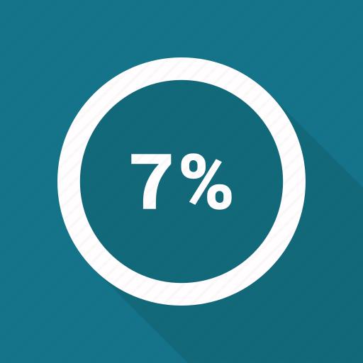circle, percent, percentage, pie chart, seven icon