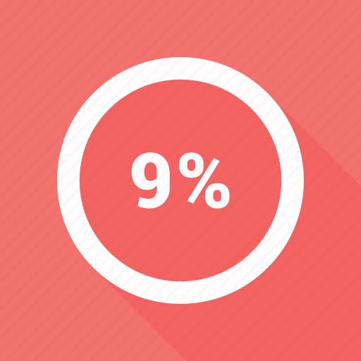 circle, nine, percent, percentage, pie chart icon